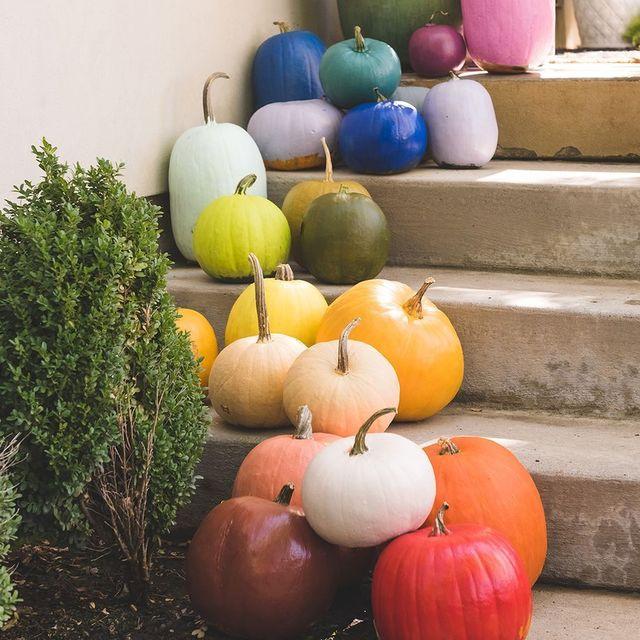 rainbow pumpkins outdoor halloween decorations