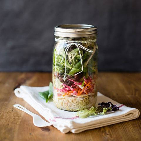 Rainbow Salad in a Jar with Avocado Hummus