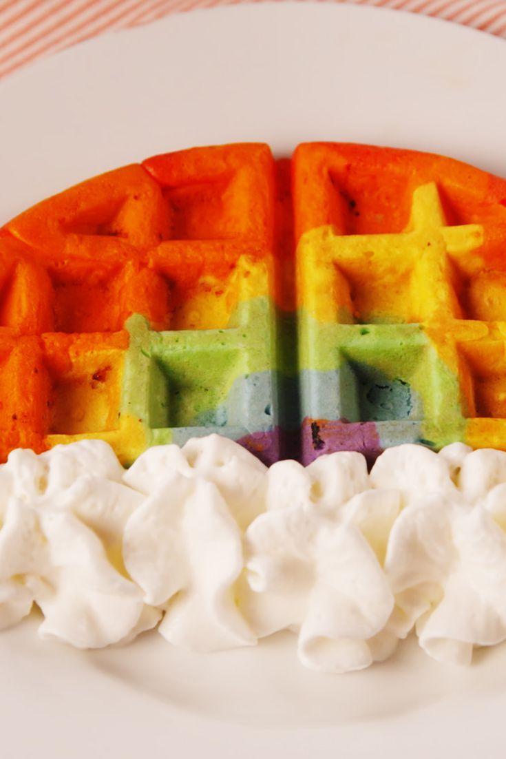 St. Patrick's Day Recipes - Rainbow Waffles