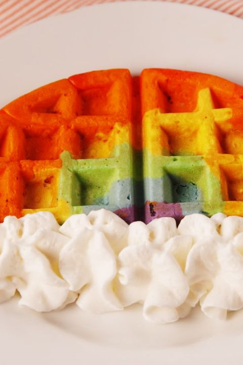 St. Patrick's Day Recipes - Rainbow Waffles