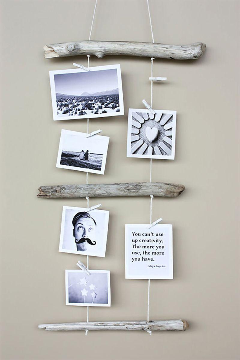 Collage con ramas para colgar fotos