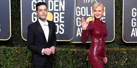 Rami Malek y Nicole Kidman en los Globos de Oro 2019