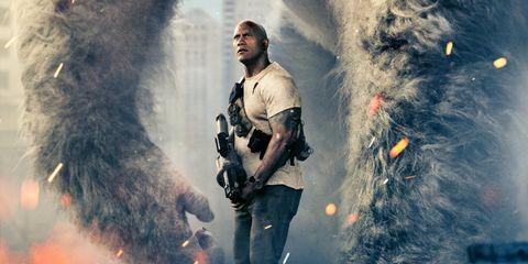 rampage trailer the rock vs a giant gorilla who ya got