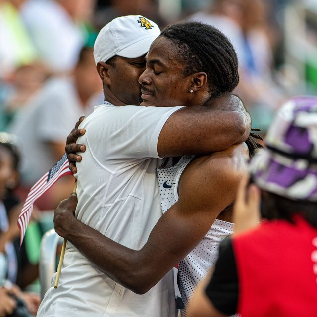 randolph ross hugs his father and coach, duane ross after the olympic trials in 2021