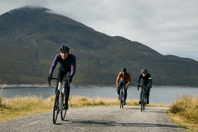three rapha cyclists out on a ride