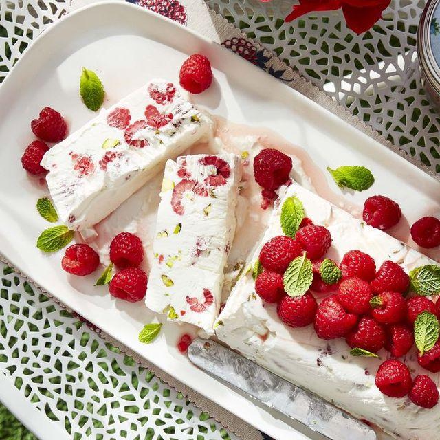 raspberry and pistachio semifreddo with fresh raspberries and mint