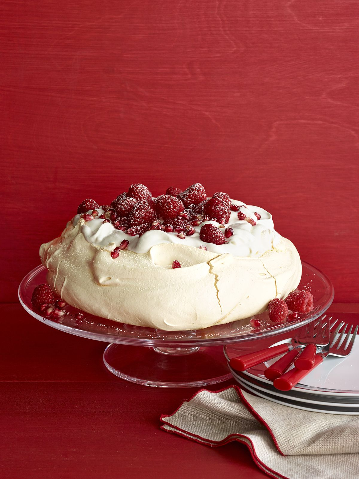 Raspberry-Pomegranate Pavlova