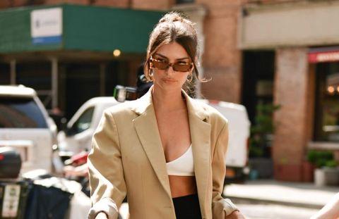 White, Street fashion, Clothing, Blazer, Eyewear, Shoulder, Outerwear, Fashion, Sunglasses, Suit,