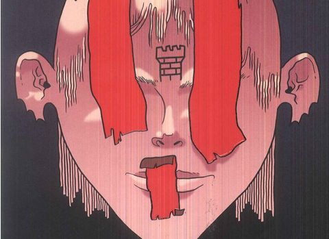 Red, Illustration, Art, Mouth, Font, Tooth, Fictional character,