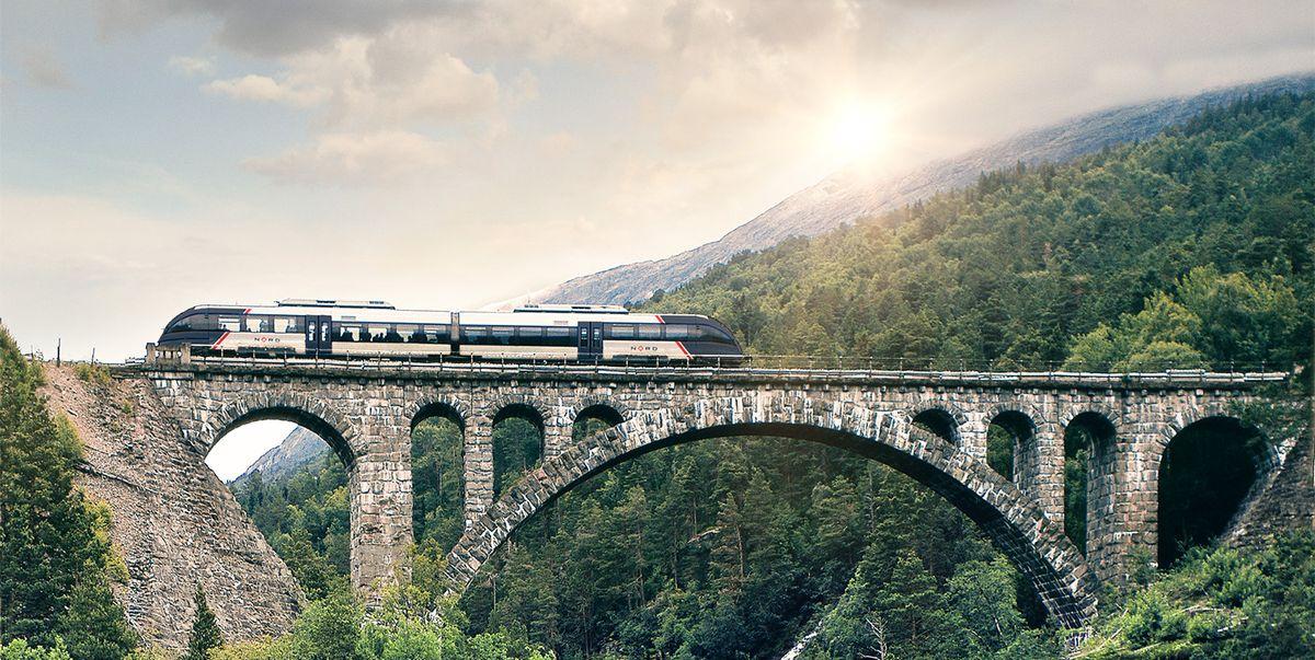 The Rauma Railway takes you on a scenic ride through dramatic mountains