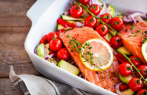 raw fresh delicious salmon and vegetables