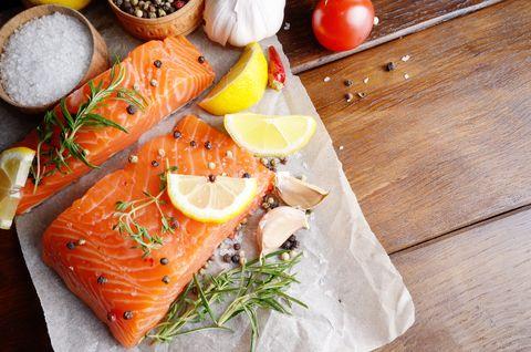 raw salmon on baking paper