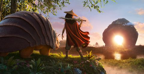 raya and the last dragon   as an evil force threatens the kingdom of kumandra, it is up to warrior raya, and her trusty steed tuk tuk, to leave their heart lands home and track down the last dragon to help stop the villainous druun © 2020 disney all rights reserved