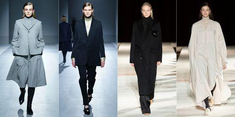 Fashion model, Fashion, Clothing, Overcoat, Coat, Suit, Runway, Outerwear, Human, Footwear,