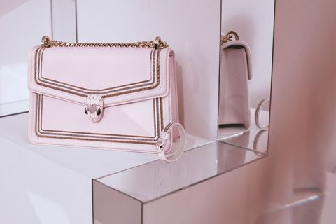 Pink, Material property, Fashion accessory, Room, Furniture, Shelf, Beige, Metal, Rectangle,