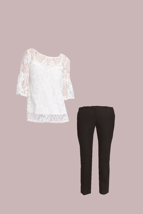 White, Clothing, Product, Sleeve, Shoulder, Trousers, Leggings, Neck, Beige, Blouse,