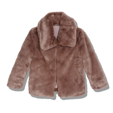 Fur clothing, Fur, Clothing, Outerwear, Jacket, Sleeve, Brown, Hood, Coat, Beige,