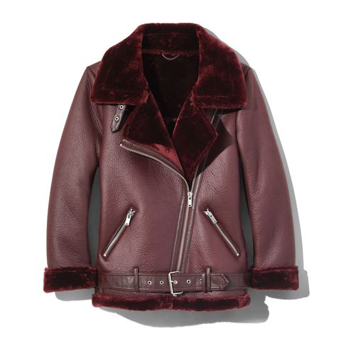 Clothing, Jacket, Outerwear, Leather, Maroon, Sleeve, Leather jacket, Textile, Collar, Fur,