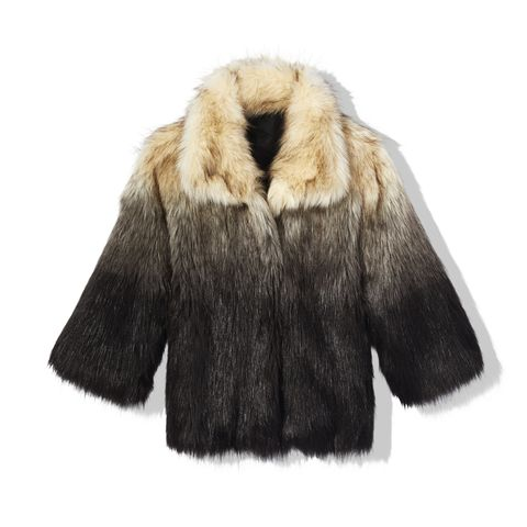 Fur clothing, Fur, Clothing, Outerwear, Sleeve, Coat, Jacket, Beige, Textile, Natural material,