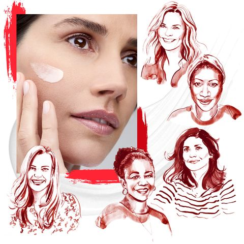 a beauty image of a woman with cream on her cheek, surrounded by illustrated portraits of five women