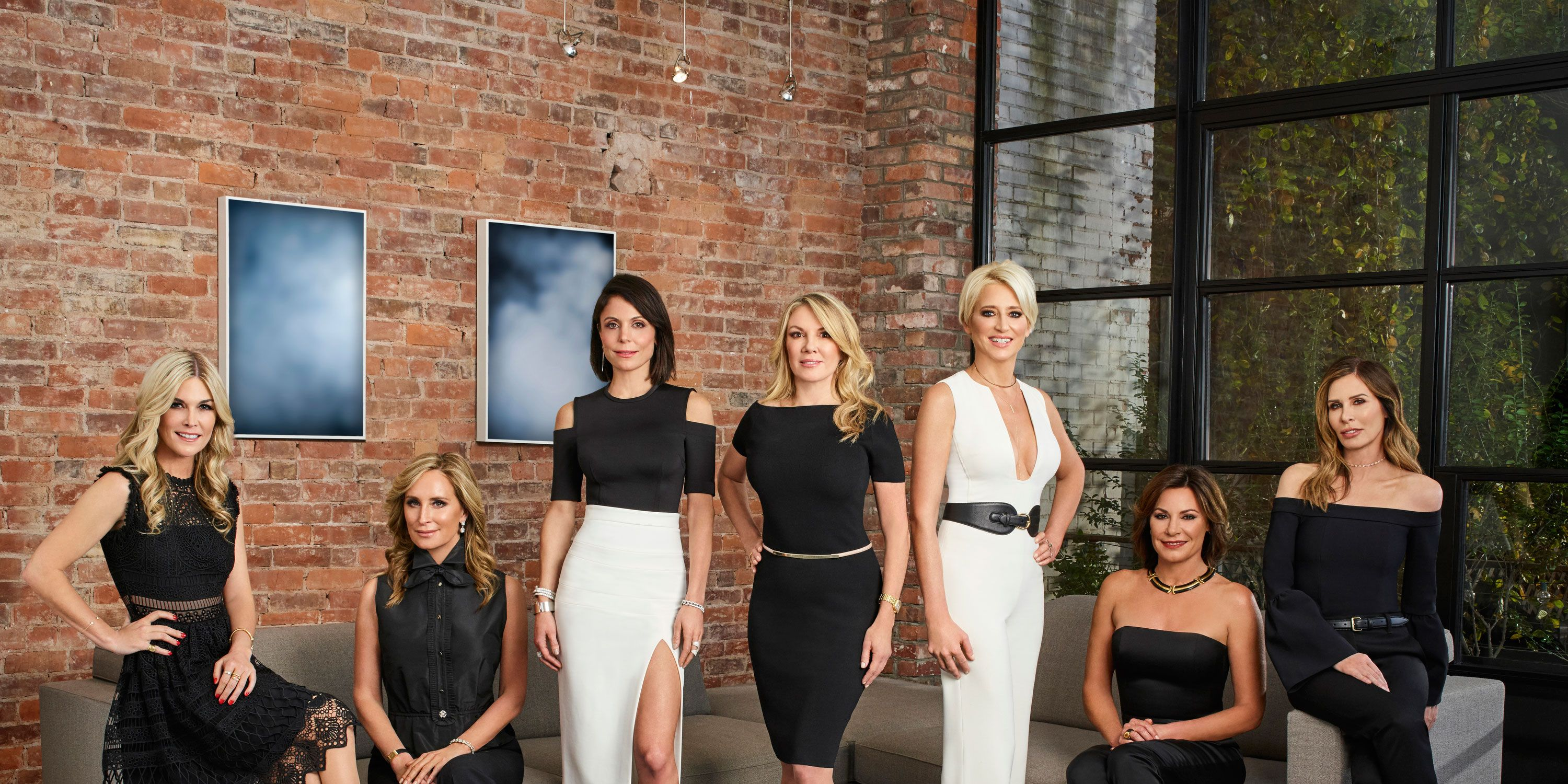 Season 9 cast of the Real Housewives of New York City: Tinsley Mortimer, Sonja Morgan, Bethenny Frankel, Ramona Singer, Dorinda Medley, Luann D'Agostino, and Carole Radziwill.