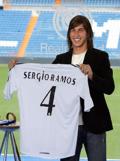 Sergio Ramos en su presentación con el Real Madrid en 2005