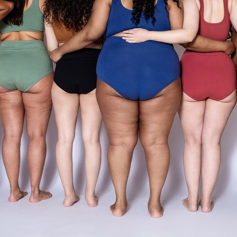 rear view of a diverse females together in underwear