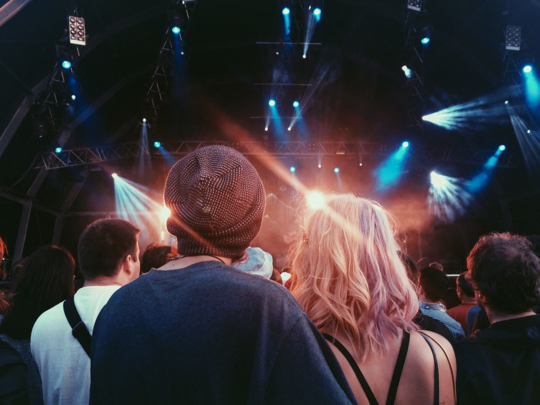 Rear View Of People At Illuminated Music Concert