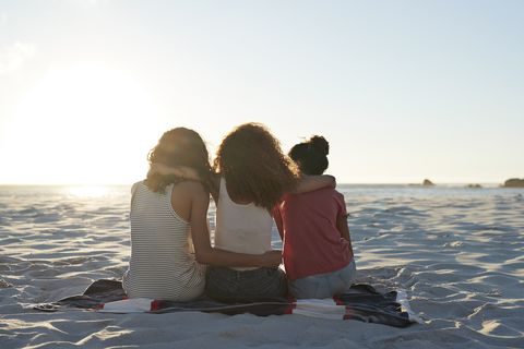 Rear view of three young women sitting on beach