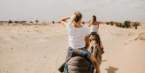 Rear View Of Women Riding Camels At Desert