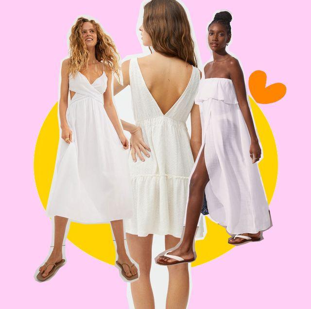 cinco vestidos blancos de zara, hym y pull and bear que debes comprar en rebajas