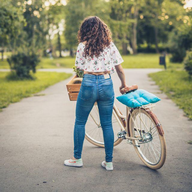 rebel girl with cool stylish bike