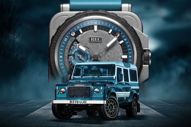 the rnr arkonik watch with a land rover in front