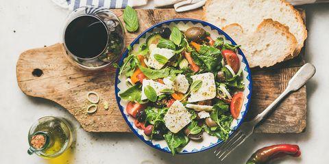 Griekse salade met munt