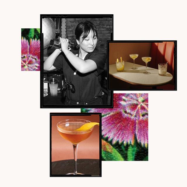 katie rue mixes a drink at reception bar