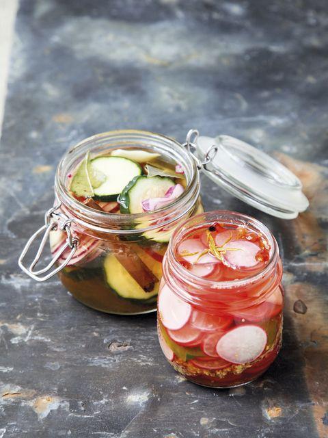 Mason jar, Food, Ingredient, Cuisine, Dish, Produce, Vegetable, Recipe, Drink, Onion,