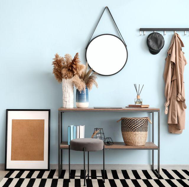 recibidor decorado en color azul