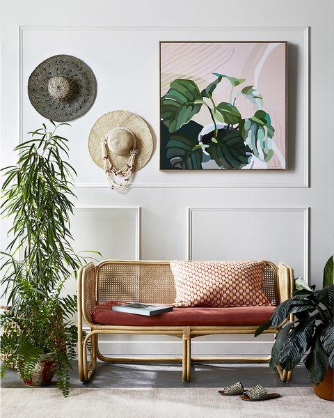 recibidor decorado con plantas y cuadros