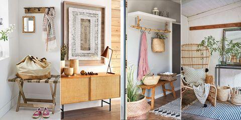 recibidores rústicos con detalles de madera