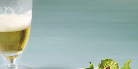 Beer, Drinkware, Food, Drink, Serveware, Ingredient, Alcoholic beverage, Leaf vegetable, Tableware, Salad,