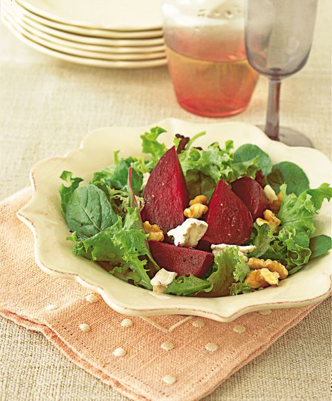 Beet And Goat Cheese Salad With Baby Greens And Walnuts