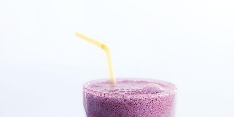 Drink, Health shake, Food, Liquid, Juice, Magenta, Smoothie, Tableware, Drinking straw, Serveware,