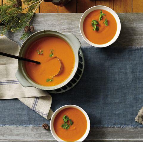 Ingredient, Tableware, Serveware, Tomato soup, Dishware, Orange, Home accessories, Soup, Bowl, Produce,