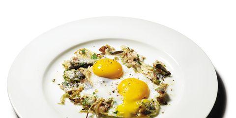 Egg yolk, Food, Fried egg, Ingredient, Egg white, Serveware, Dishware, Breakfast, Dish, Meal,