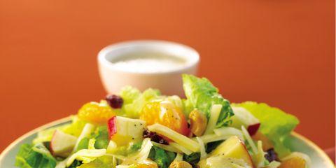 Food, Cuisine, Salad, Dishware, Serveware, Leaf vegetable, Ingredient, Tableware, Garden salad, Recipe,