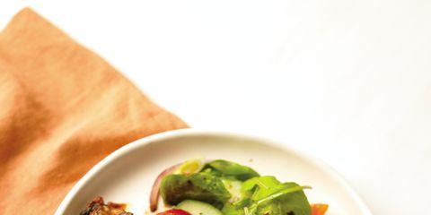 Food, Dishware, Plate, Tableware, Dish, Serveware, Meat, Recipe, Ingredient, Leaf vegetable,