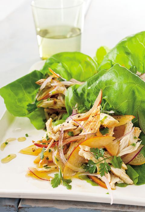 Lettuce Cups with Chicken and Peach Salsa