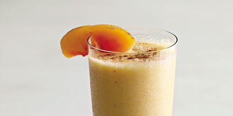 Drink, Serveware, Drinking straw, Health shake, Tableware, Peach, Kitchen utensil, Non-alcoholic beverage, Dishware, Smoothie,