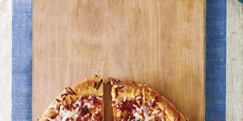 Wood, Food, Ingredient, Dish, Pizza, Baked goods, Recipe, Cuisine, Plate, Serveware,