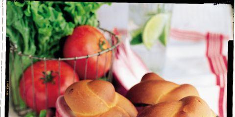 Food, Sandwich, Finger food, Produce, Ingredient, Baked goods, Leaf vegetable, Dish, Hamburger, Bun,